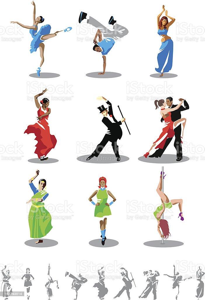 Dance types vector art illustration