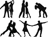 Silhouettes of couples dancing.  This file is layered and grouped, ready for editing.