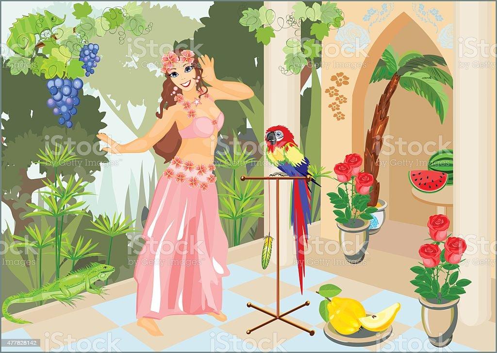 Dancer belly dancing in pink dress on background of palace vector art illustration