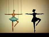 ダンサーのコンセプトは、実在の人物と比較するバレリーナ マリオネット