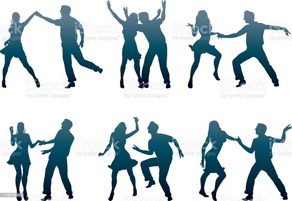 dancer couples vector art illustration