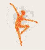 Dancing girl, abstract vector illustration.