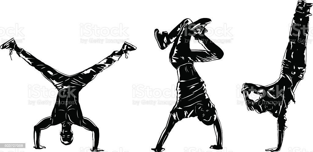 Dancers silhouettes vector art illustration