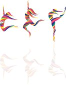 creative dancers illustration.eps8,ai8,jpg format are available. transparent effect used in reflection.