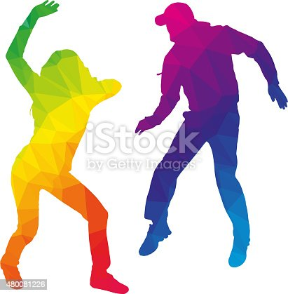 Vector silhouette dancers of low poly style.