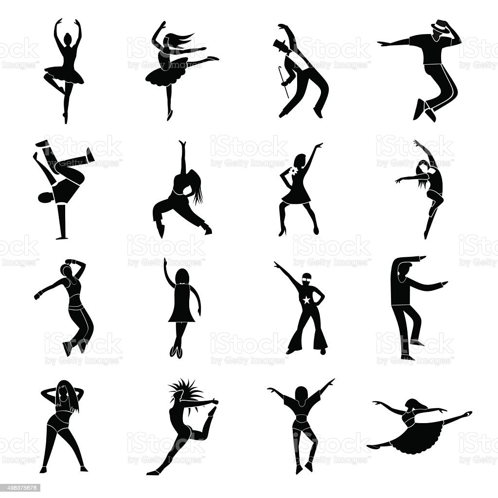 Dances simple icons set vector art illustration