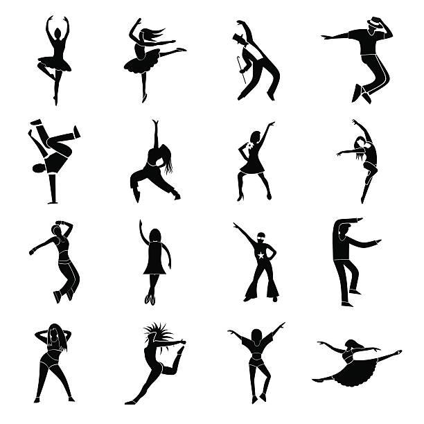 tanzt einfache symbole set - ballsäle stock-grafiken, -clipart, -cartoons und -symbole