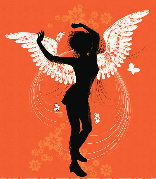 Dancing Angel, Sihouette vector art illustration