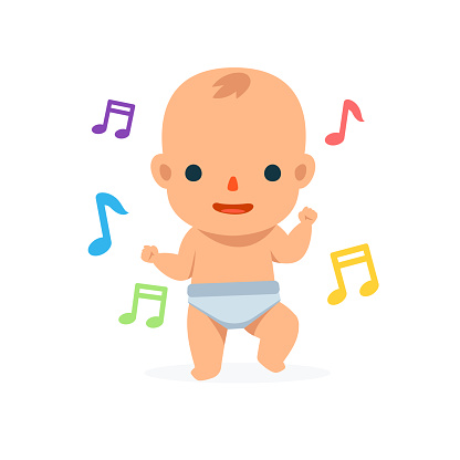 A Dancing Baby. Isolated Vector Illustration