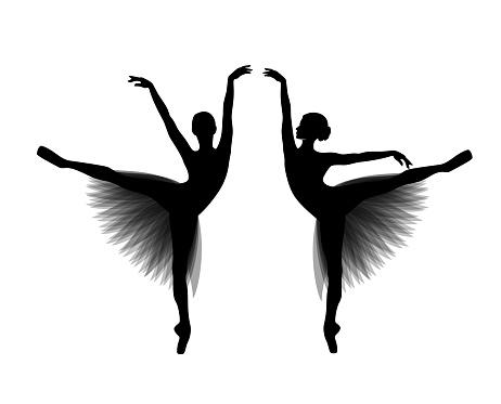 dancing ballerina girl wearing tutu dress black and white vector silhouette set