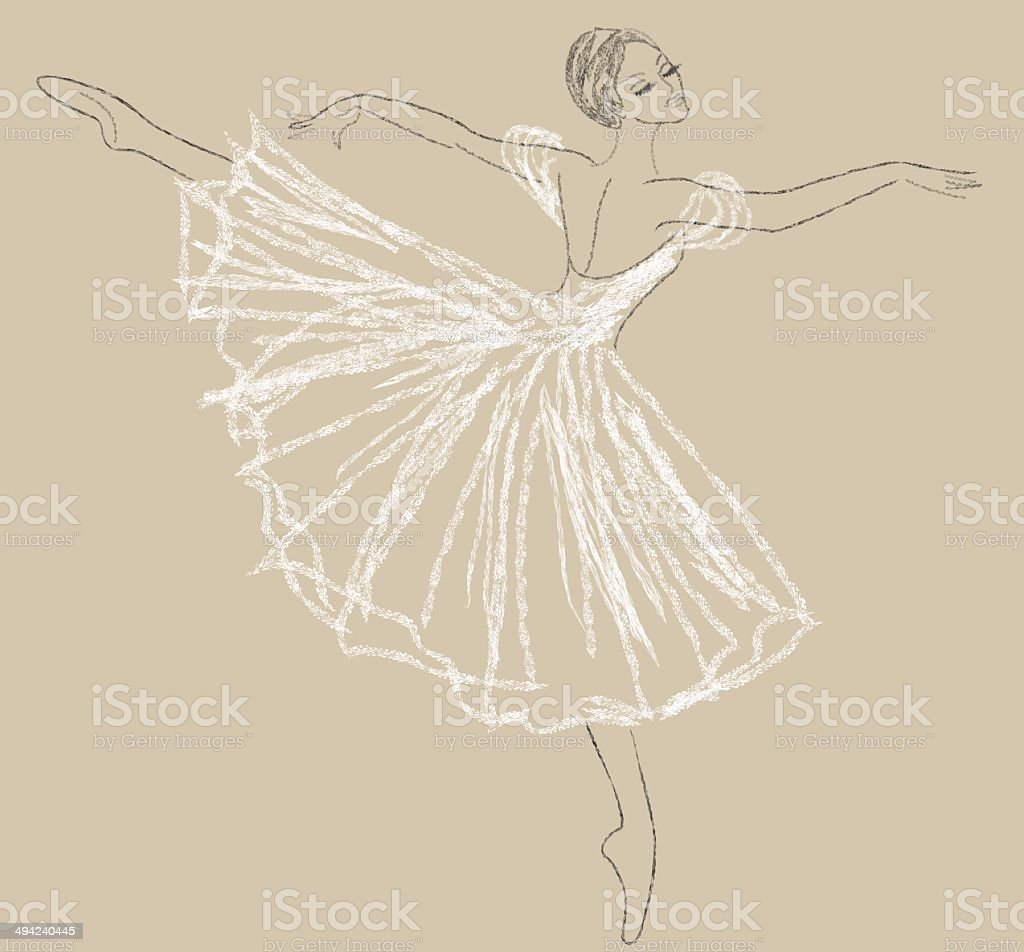 dancing ballerina vector art illustration