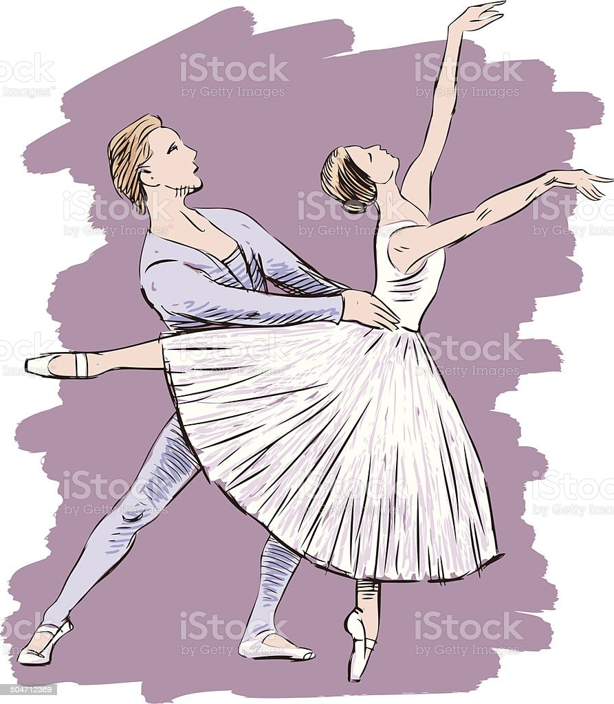 dancing ballet couple royalty-free stock vector art