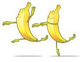 Funny couple of dancing bananas