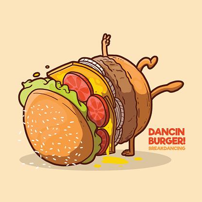 Dancing Burger vector illustration.