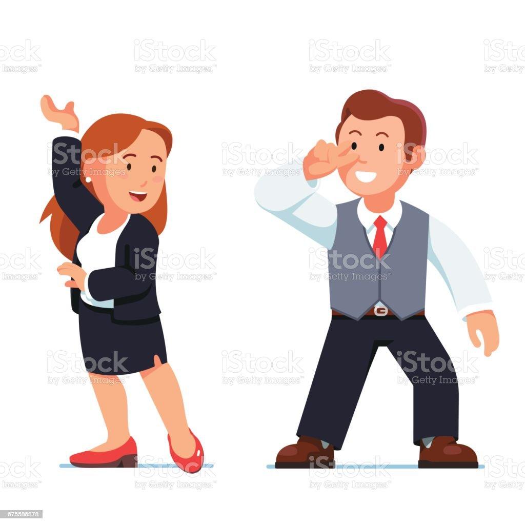 Dancing business people man and woman flirting dancing business people man and woman flirting – cliparts vectoriels et plus d'images de activité avec mouvement libre de droits