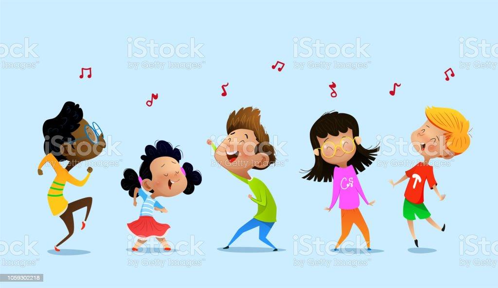 Dancing cartoon children. dancing cartoon children - immagini vettoriali stock e altre immagini di allegro royalty-free