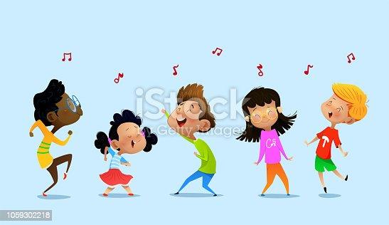 istock Dancing cartoon children. 1059302218