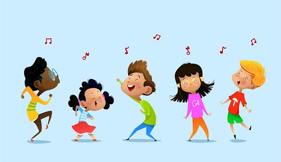 Dancing cartoon children. clipart