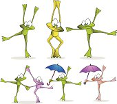 Fully editable vector illustration of a collection of dancing cartoon frogs.
