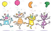 Four cool dancing party cats.