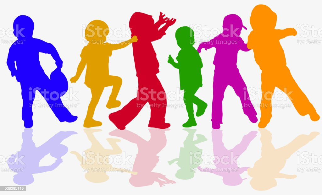 Dancing children silhouettes vector art illustration