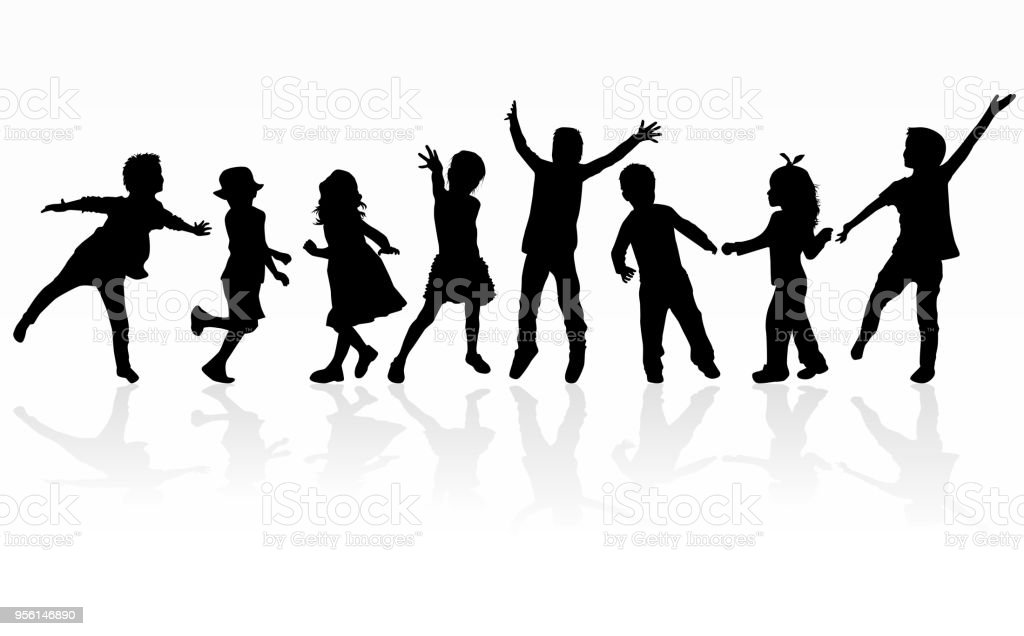 Dancing children silhouettes. vector art illustration