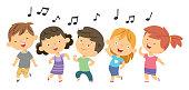 Vector dancing children