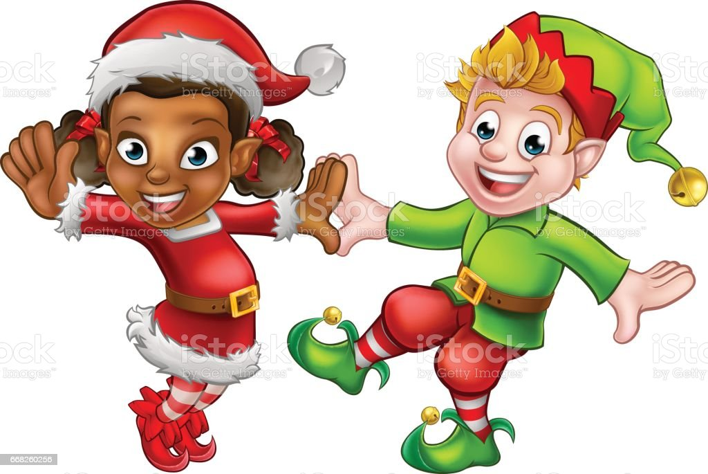 Dancing Christmas Elves vector art illustration
