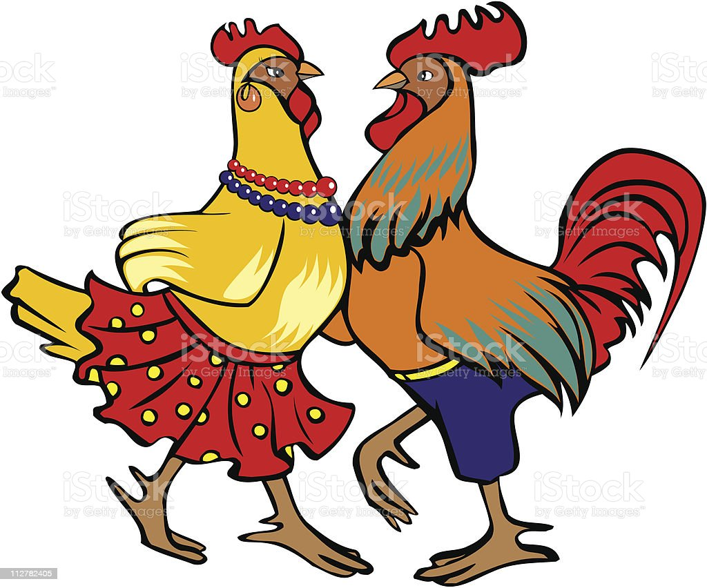 Coq et poule danse - Illustration vectorielle
