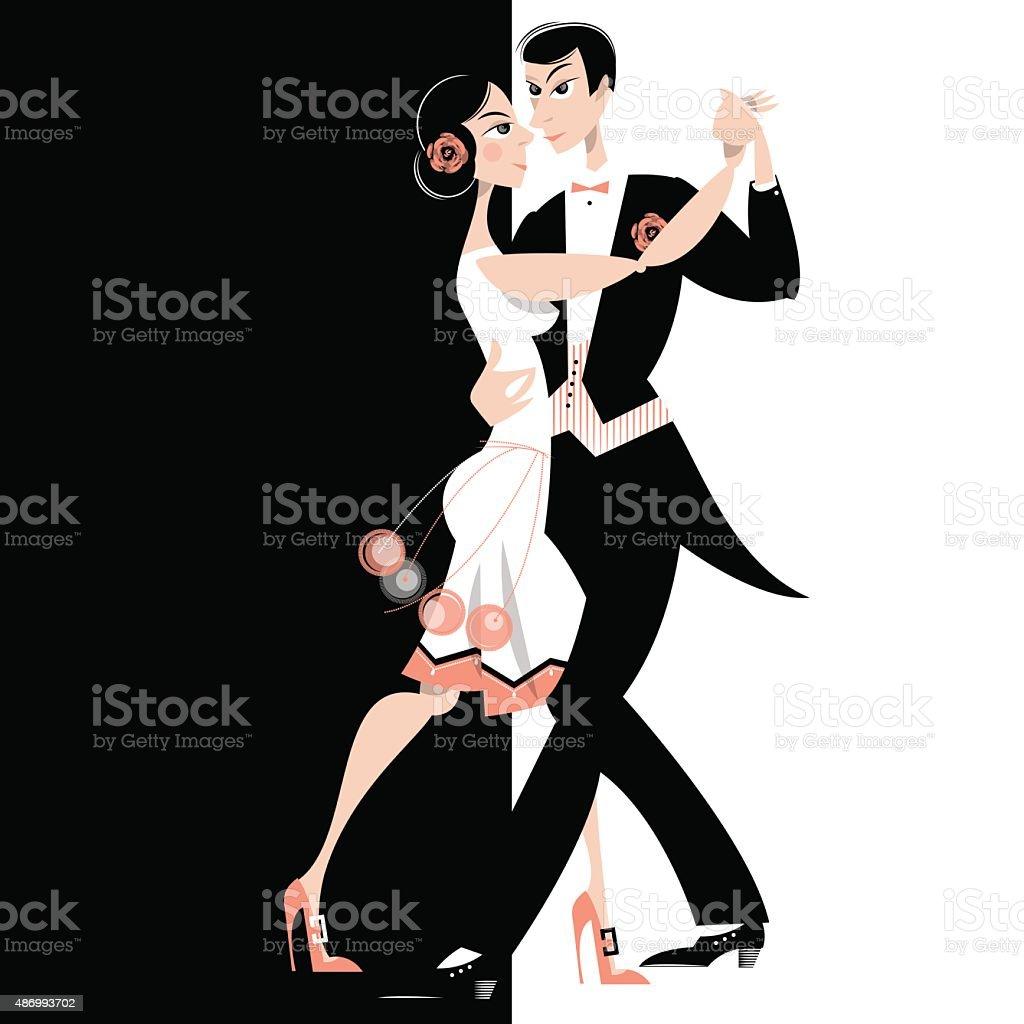 Dancing couple. Art deco. Retro. vector art illustration