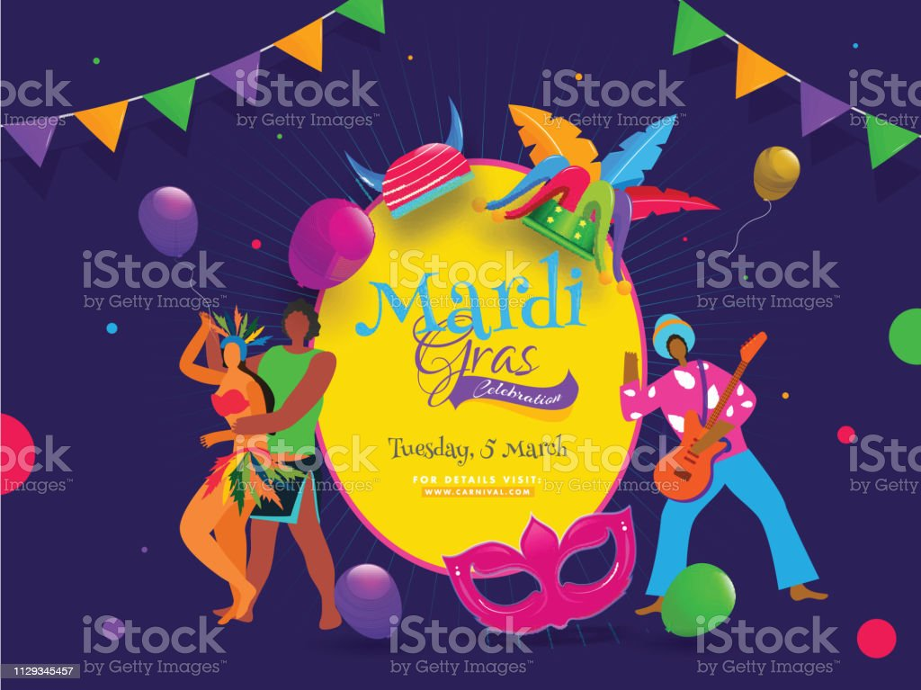 Dancing Couple Character With Party Mask Jester Hat And Balloons On Purple Background For Mardi Gras Party Celebration Poster Or Banner Design Stock Illustration Download Image Now Istock