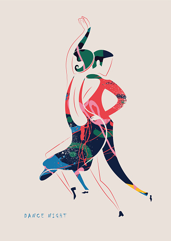 Dancing, couple, dance couple, fashion in the style of the 20s - vector illustration