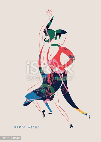 istock Dancing, couple, dance couple, fashion in the style of the 20s - vector illustration 1211620543