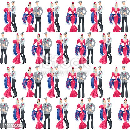 """Dancing couple in traditional clothes during the festival of """"San Isidro"""" (Fiestas de San Isidro), patron of Madrid. Seamless background pattern. Vector illustration"""
