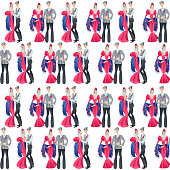 """Dancing couple in traditional clothes during the festival of """"San Isidro"""" (Fiestas de San Isidro), patron of Madrid. Seamless background pattern."""