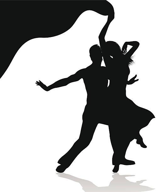 Dancing couple silhouette vector art illustration