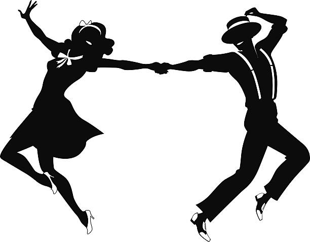 dancing couple silhouette - 1940s style stock illustrations
