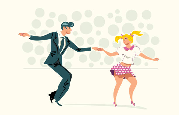 Dancing Couple Couple Dancing, retro illustration with a simple style. Easy color change bilar stock illustrations