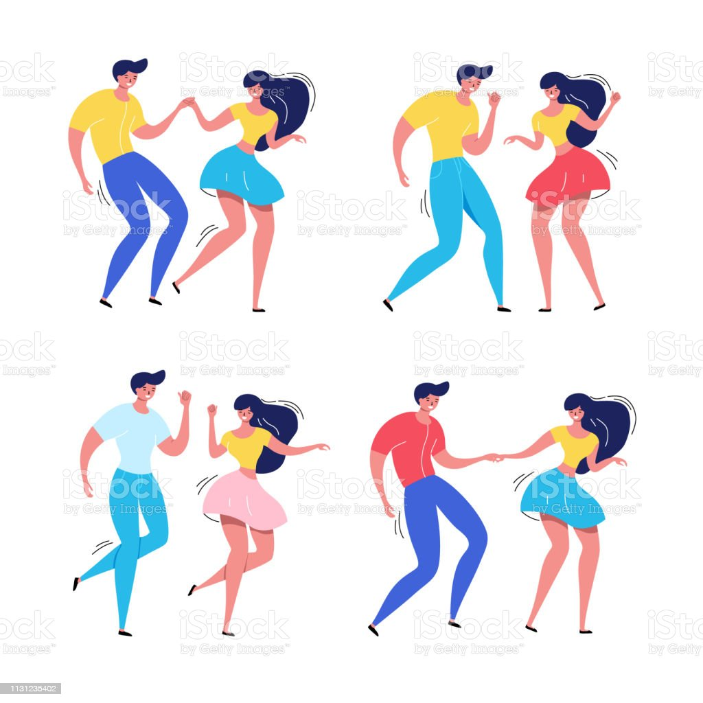 Dancing couple with audience. Rockabilly dance party. Happy swing dancers with viewers vector illustration isolated Dancing couple with audience. Rockabilly dance party. Happy swing dancers with viewers vector illustration isolated on white 1950-1959 stock vector