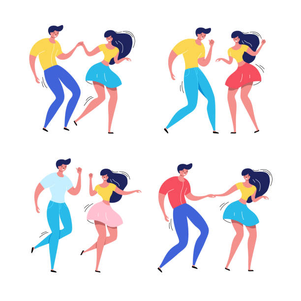 Dancing couple with audience. Rockabilly dance party. Happy swing dancers with viewers vector illustration isolated vector art illustration