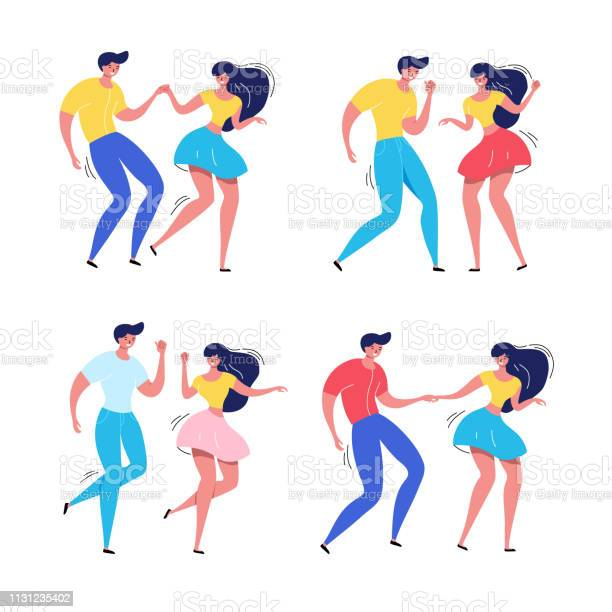 Dancing Couple With Audience Rockabilly Dance Party Happy Swing Dancers With Viewers Vector Illustration Isolated Stock Illustration - Download Image Now