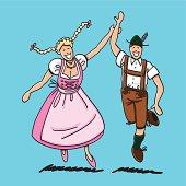 Dancing Couple With Dirndl And Lederhosen