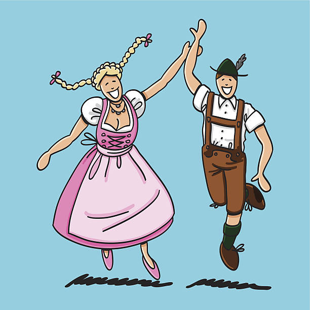 Dancing Couple With Dirndl And Lederhosen Vector illustration of a bavarian couple in Dirndl and Lederhosen. They are dancing at the Oktoberfest. The line art, color and background are on separate layers, so you also can use the illustration on your own background. The colors in the .eps-file are ready for print (CMYK). Included files: EPS (v8) and Hi-Res JPG. doodle NOT black and white stock illustrations