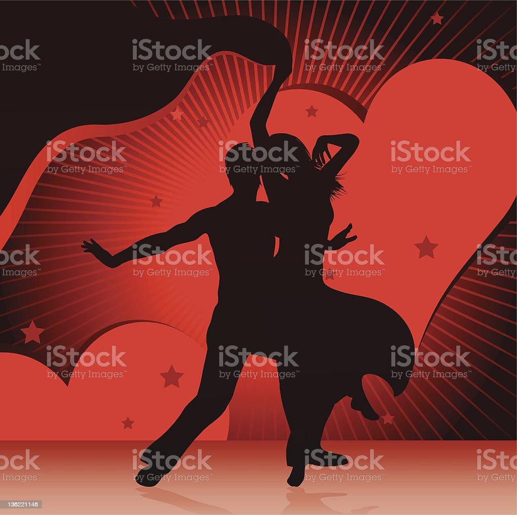 dancing couples vector art illustration