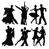Silhouettes of dancers  isolated on white. Vector illustration