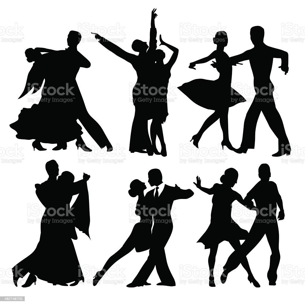 Dancing couples vector art illustration