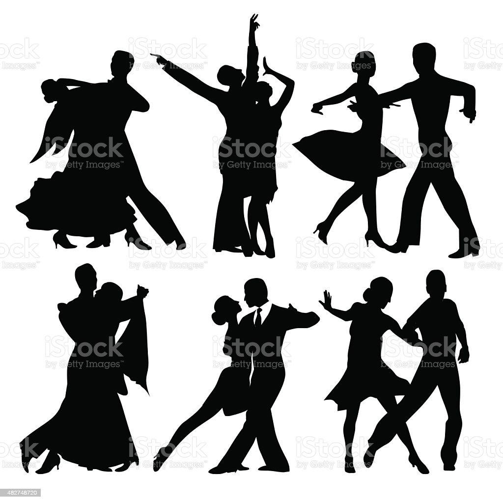 Parejas de baile - ilustración de arte vectorial
