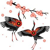 Dancing crane. The Japanese style. Vector artwork, scaling to any size.