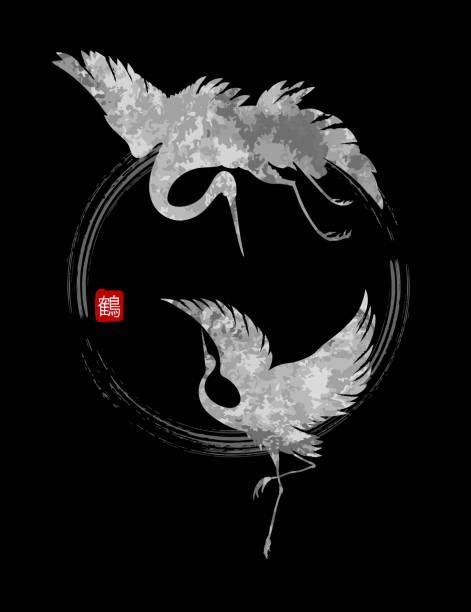 dancing cranes vector - crane bird stock illustrations