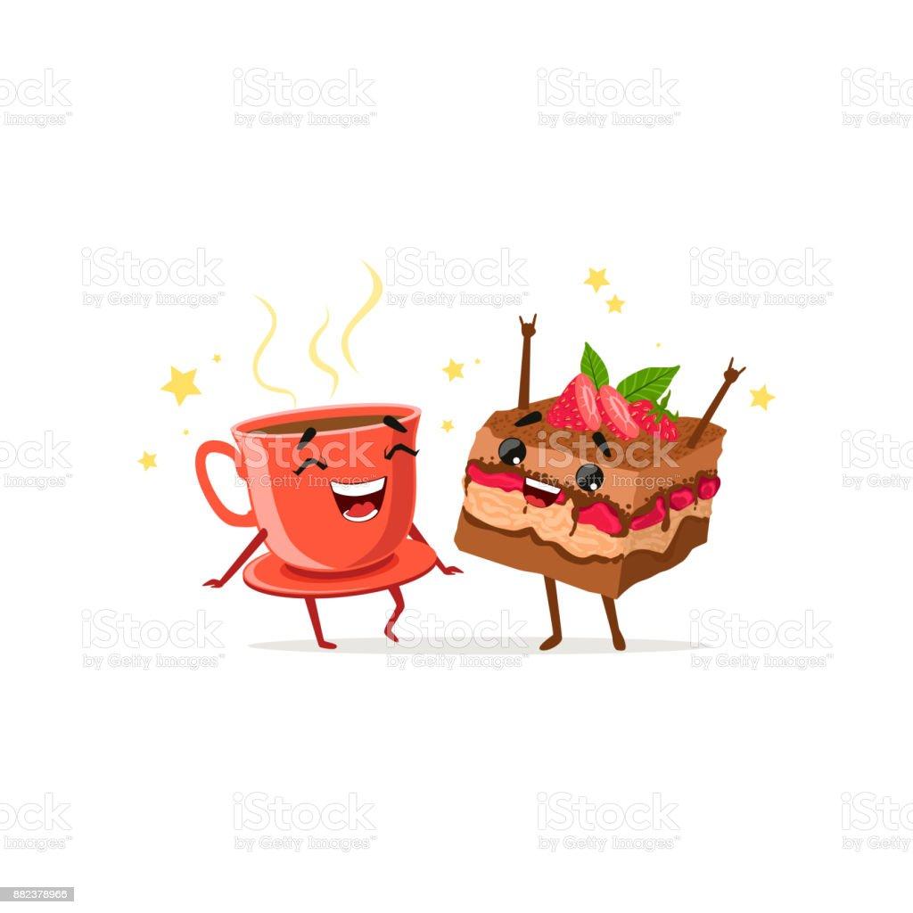 Tanzen Kaffee Und Kuchen Mit Erdbeeren Essen Und Trinken ...
